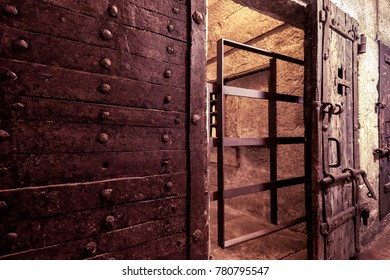 Venice, Italy - May 21, 2017: Old prison at the Doge`s Palace. The door to the prison cell. The ancient dungeon of the Doge`s Palace. Historical architecture and landmark in Venice.