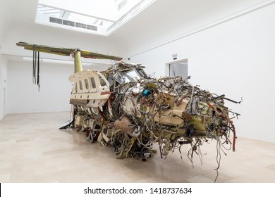Venice Italy - May 25, 2019: Biennale Arte 2019 Flight by Troman Stańczak's is a Surrealist sculpture: an inside-out luxury private aircraft.