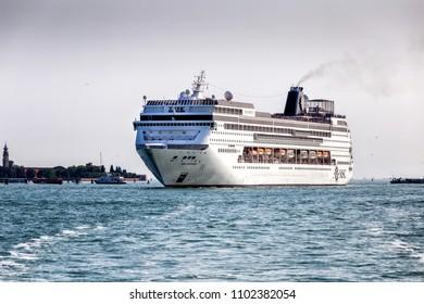 VENICE, ITALY- MAY 26: MSC's Cruise Ship in Venice on May 26,2018.