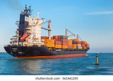 VENICE, ITALY - MAY 27, 2016: Cargo ship at the port,Venice,Italy