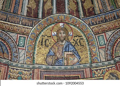 VENICE, ITALY - MAY 28 : Christ Pantocrator, mosaic from facade of the Basilica San Marco, St. Mark's Square, Venice, Italy, UNESCO World Heritage Site on May 28, 2017.
