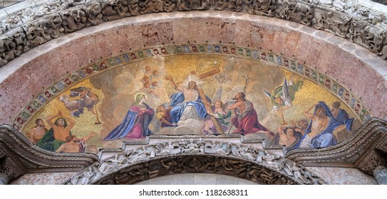 VENICE, ITALY - MAY 28 : Christ in glory, bezel greater arch, the facade of the Basilica San Marco, St. Mark's Square, Venice, Italy, UNESCO World Heritage Sites on May 28, 2017.