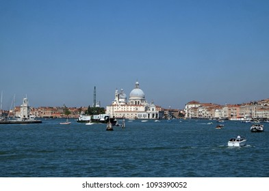 VENICE, ITALY - MAY 28 : Cityscape of Venice. View from cruise ship at Adriatic sea, Venice, Italy, on May 28, 2017.