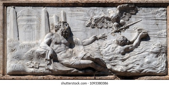 VENICE, ITALY - MAY 28 : Frieze depicting allegories of the island of Cyprus from the Loggetta by Jacopo Sansovino, Campanile di San Marco, Venice, Italy, UNESCO World Heritage Site on May 28, 2017.