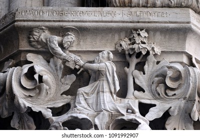 VENICE, ITALY - MAY 28: Medieval reliefs from Doge's Palace, Saint Mark Square, Venice, Italy, UNESCO World Heritage Sites on May 28, 2017.