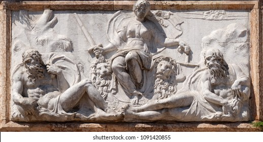 VENICE, ITALY - MAY 28 : Relief representing Venice as Justice from the Loggetta by Jacopo Sansovino, under the Campanile di San Marco, Venice, Italy, UNESCO World Heritage Site on May 28, 2017.