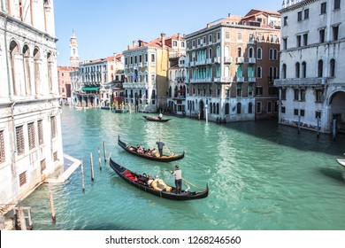Venice, Italy - May 29, 2016: Boats near the coast in Venice. River individual transport