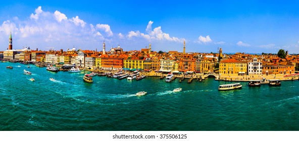 VENICE, ITALY- MAY 29-2014: Cityscape of Venice. View from cruise ship at Adriatic sea, Venice, Italy . Venice is very famous tourist destination of Italy. Many tourists visiting all year around.