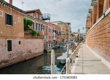 Venice, Italy - May 30, 2020: Canal and deserted calle at the time of Covid 19 - Coronavirus