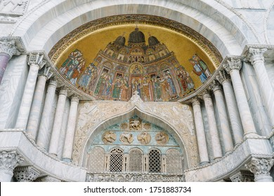 Venice, Italy- May 30, 2020: Detail of the mosaics at the entrance of the basilica of San Marco