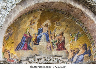 VENICE, ITALY - MAY 4, 2012: Frescoes on the front of basilica. Patriarchal Cathedral Basilica of Saint Mark is cathedral church of Roman Catholic Archdiocese of Venice.