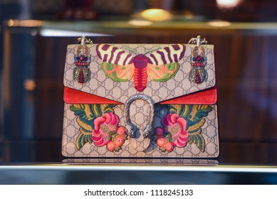 Venice, Italy - May 4, 2018: Gucci bags in a store in Venice - Luxury shopping concept