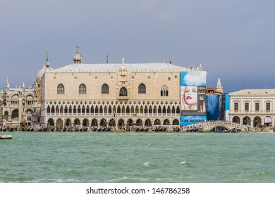 VENICE, ITALY - MAY 4: Sea view from Lagoon Piazza San Marco and Doge Palace on May 4, 2012 in Venice, Italy. St Mark's Square is the principal public square of Venice.