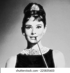 VENICE, ITALY - MAY 6, 2012: Print depicting movie star Audrey Hepburn in famous posing is exhibited in Venetian print shop