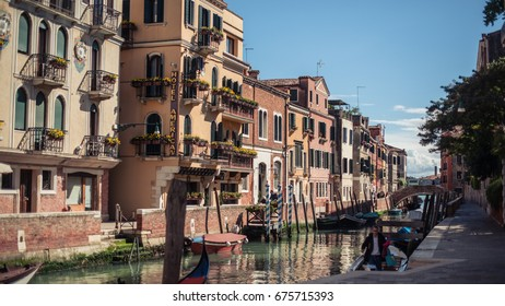 VENICE, ITALY - MAY 8, 2017: Canal with bridges in the heart of Venice.