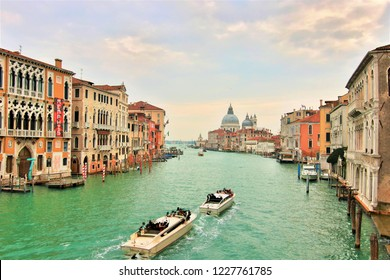Venice, Italy. Nov. 11, 2018. Panoramic view of Canal Grande from the Ponte dell'Accademia. On the left you can see the Palazzo Franchetti, currenly seat of the Memphis Pllastic Field exhibition.