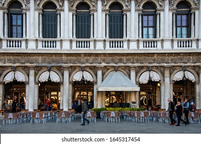 Venice, Italy – NOV 14, 2018: Cafe Florian on the Piazza San Marco or St Mark`s Square in Venice. It is an oldest cafe in Europe and famous landmark of Venice