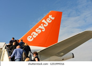 Venice / Italy - November 01, 2017: Easyjet company logo on airplane rudder, Easyjet is a British Low-Cost-Airline headquartered at London Luton Airport