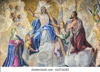 VENICE, ITALY - NOVEMBER 02, 2014: A fragment of an ancient mosaic located above the entrance to The Patriarchal Cathedral Basilica of Saint Mark in Venice. Italy.
