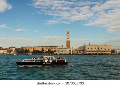 Venice, Italy - November 12, 2016: Seaside view on the Campanile of St Mark`s Basilica on San Marco square, the most popular landmark in the city of Venice