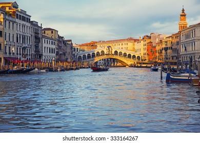 VENICE, ITALY, November 20, 2012: Beautiful view of a Grand Canal  in Venice and Rialto Bridge, Italy