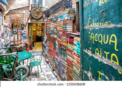 "Venice, Italy - November 27, 2018: View of the Famous bookstore in Venice ""Libreria Acqua Alta"". This is one of the most famous used bookstore in the world."