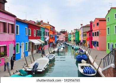 Venice, Italy, November 8, 2013. Tourists walk along the streets of the island of Burano in the Venetian lagoon.