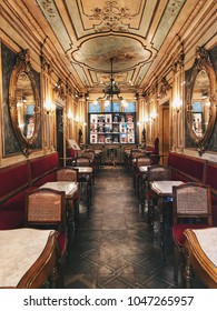 Venice, Italy - November 8, 2017 : Interior design of Caffe Florian