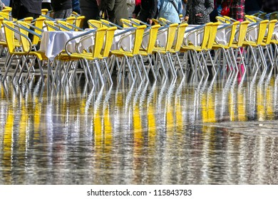 VENICE, ITALY - OCT 16: Venice flooded from the first high water of the 2012 season in October 16, 2012 in Venice, Italy