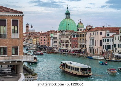 VENICE, ITALY, - OCT.19, 2016: Vaporetti (water bus) on Canal Grande, public transport in Venice