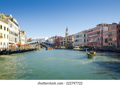 Venice, Italy- October 11, 2013: Grand Canal, Venice.The Grand Canal forms one of the major water-traffic corridors. Public transport is provided by vaporetti and gondolas.