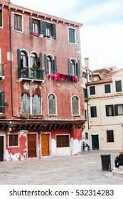 VENICE, ITALY - OCTOBER 11, 2016: square and children in central district of Venice town (sestieri San Polo). San Polo is the most central and smallest of the sestieri of Venice.