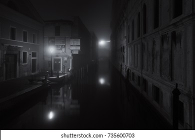 Venice, Italy, October 2017: bridge of Sighs in  Venice  on a cold and misty night