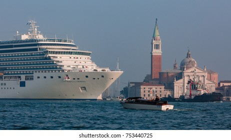 Venice, Italy, October 2017: cruise ship Costa Luminosa entering the city of Venice on the Grand Canal