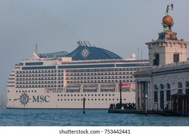 Venice, Italy, October 2017: cruise ship MSC entering the city of Venice on the Grand Canal