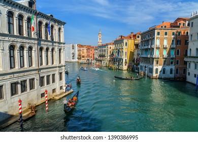 Venice, Italy - October 23, 2018: View of Grand Canal from Bridge Ponte di Rialto