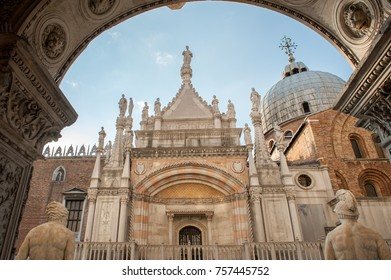 VENICE, ITALY - OCTOBER 23: St Mark's basilica viewed from Doge's Palace on October 23, 2011 in San Marco, Venice, Italy. The oldest parts of the palace were established 1340.