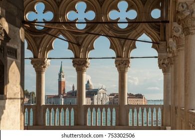 VENICE, ITALY - OCTOBER 23: View from Doge's Palace towards San Giorgio Maggiore on October 23, 2011 in Venice. Venice is a major tourist destination in Italy.