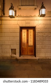 VENICE, ITALY - OCTOBER 24, 2018: Entrance oor to the world famous Harry's Bar Venice Italy