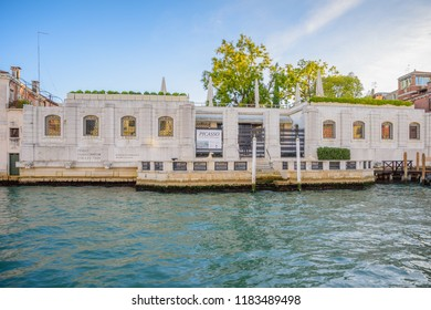 VENICE, ITALY - OCTOBER 24, 2018: Peggy Guggenheim Collection Modern Art Museum at Grand Canal in Venice, Italy.