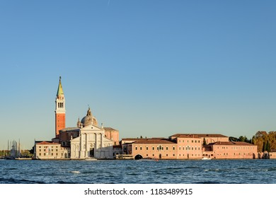 VENICE, ITALY - OCTOBER 24, 2018: Scenic view of St George Church and Island in the Giudecca Canal, Venice, Italy.