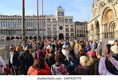 Venice, Italy - October 3, 2018: Tourists on San Marco square in Venice, Italy on October 3, 2018