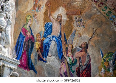 Venice, Italy - October 4, 2009: The Patriarchal Cathedral Basilica of Saint Mark, known as Saint Mark's Basilica, is the cathedral church of the Roman Catholic Archdiocese of Venice, northern Italy
