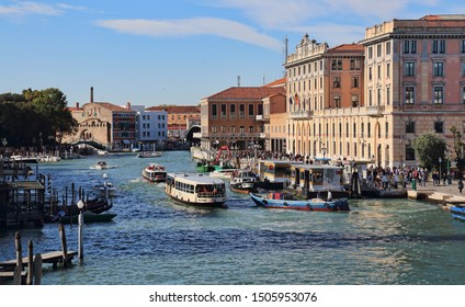 Venice, Italy - October 4 2018: Historical buildings along the Grand Canal opposite the railway station in Venice, Italy on October 4, 2018