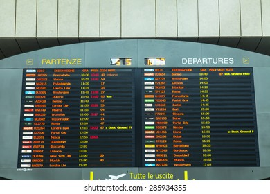 VENICE, ITALY, on MAY 5, 2015. Marco Polo's airport, hall of departures. A board with the schedule of departures of planes