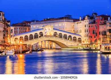 Venice, Italy. Rialto bridge and Grand Canal at twilight.