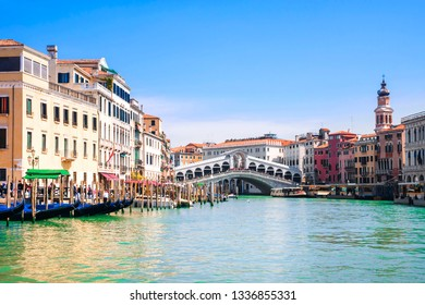 Venice, Italy. Rialto bridge on the Grand Canal in Venice