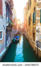 Venice, Italy - Sep 30, 2018: The picturesque narrow canal and the ancient architecture of Venice