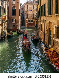 Venice, Italy, Sept. 14, 2020 – A typical venetian canal with gondolas