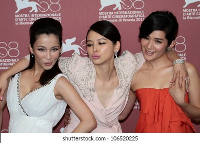 VENICE, ITALY - SEPTEMBER 01: Actresses Landy Wen, Lo Mei-ling and Vivian Hsu  during the 68th Venice Film Festival on September 01, 2011 in Venice, Italy.